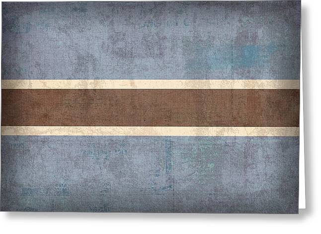 National Mixed Media Greeting Cards - Botswana Flag Vintage Distressed Finish Greeting Card by Design Turnpike
