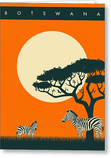 Zebra Greeting Cards - Botswana Travel Poster Greeting Card by Jazzberry Blue