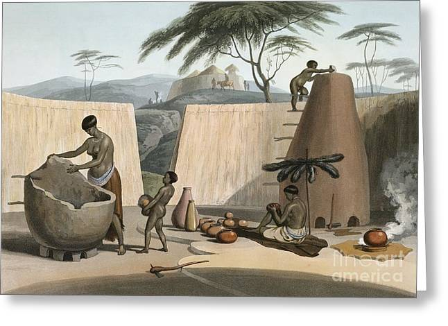 Girl And Animals Greeting Cards - Botswana Women Making Pots, 1800s Greeting Card by British Library