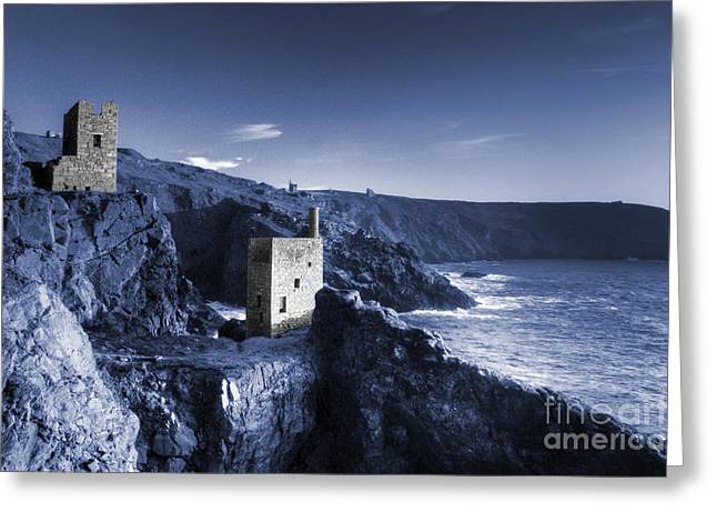 Engine House Greeting Cards - Bottallack in blue Greeting Card by Rob Hawkins