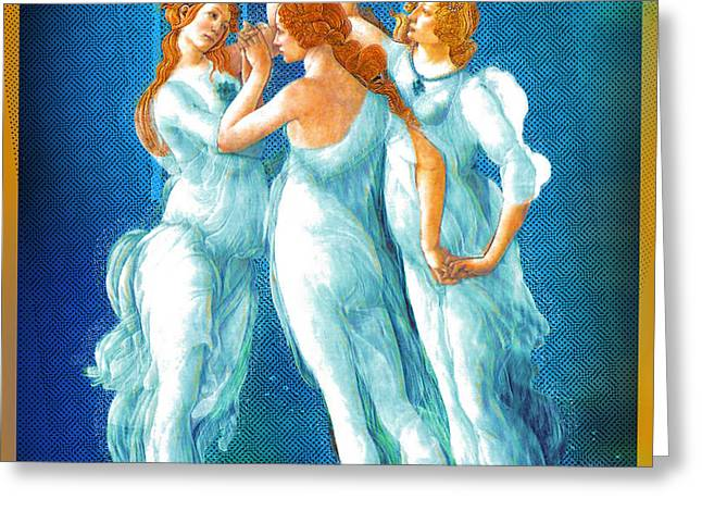 Religious Mixed Media Greeting Cards - Botticelli Pop Remix 1 Greeting Card by Tony Rubino
