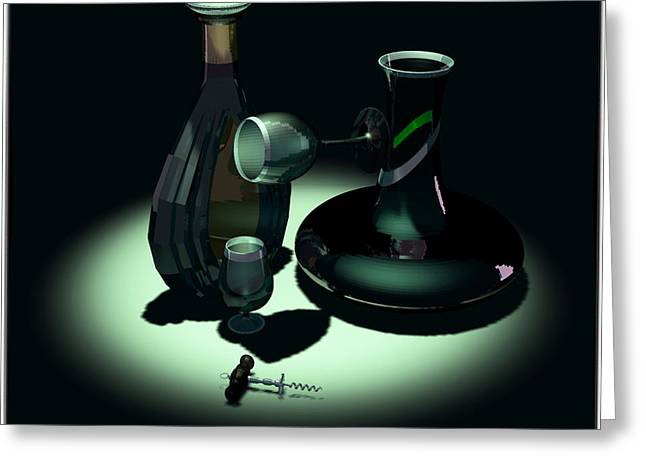 Decanters Digital Art Greeting Cards - Bottle and Carafe Greeting Card by Andrei SKY