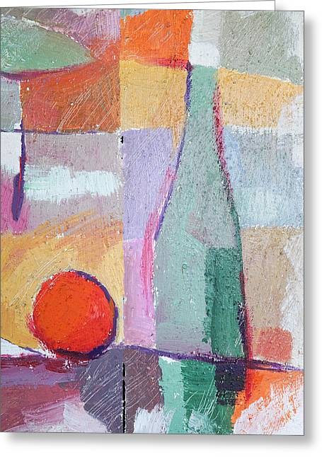 Melon Paintings Greeting Cards - Bottle and Orange Greeting Card by Lutz Baar