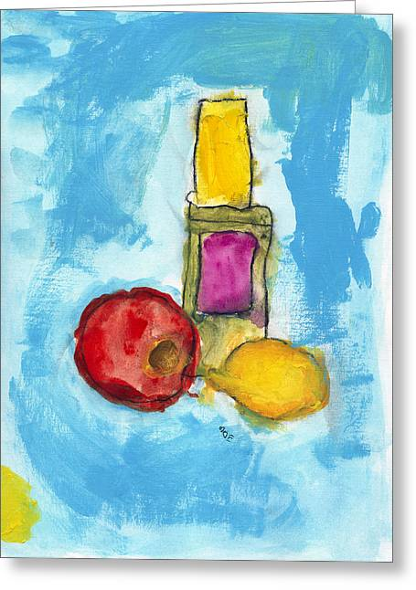Lemon Art Greeting Cards - Bottle Apple and Lemon Greeting Card by Skip Nall