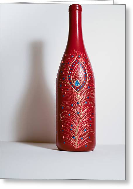Wine-bottle Glass Greeting Cards - Bottle Art Greeting Card by Maddy Koushik