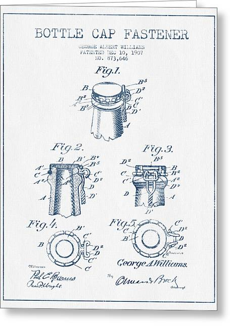 Bottle Cap Greeting Cards - Bottle Cap Fastener Patent Drawing from 1907  - Blue Ink Greeting Card by Aged Pixel