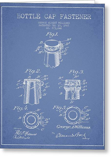 Bottle Cap Greeting Cards - Bottle Cap Fastener Patent Drawing from 1907 - Light Blue Greeting Card by Aged Pixel
