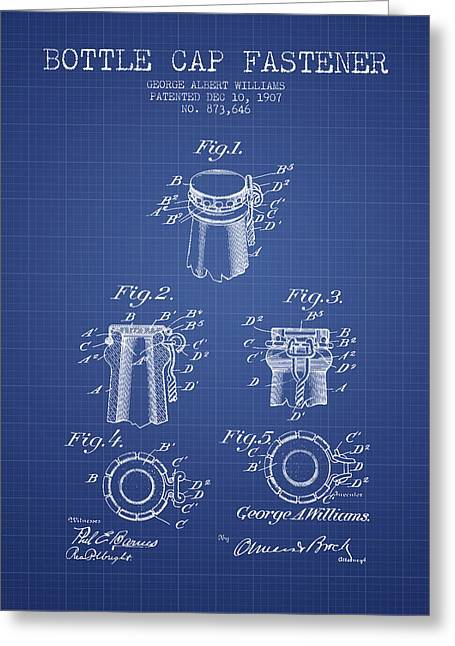 Bottle Cap Greeting Cards - Bottle Cap Fastener Patent from 1907- Blueprint Greeting Card by Aged Pixel