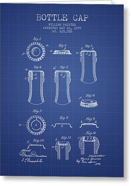 Bottle Cap Greeting Cards - Bottle Cap Patent 1899- Blueprint Greeting Card by Aged Pixel