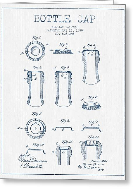 Bottle Cap Greeting Cards - Bottle Cap Patent Drawing from 1899 - Blue Ink Greeting Card by Aged Pixel