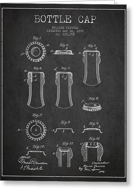 Bottle Cap Greeting Cards - Bottle Cap Patent Drawing from 1899 - Dark Greeting Card by Aged Pixel