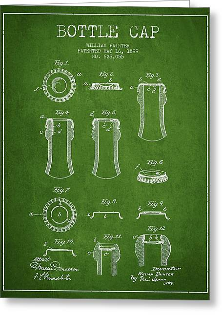 Bottle Cap Greeting Cards - Bottle Cap Patent Drawing from 1899 - Green Greeting Card by Aged Pixel