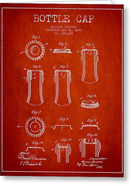 Bottle Cap Greeting Cards - Bottle Cap Patent Drawing from 1899 - Red Greeting Card by Aged Pixel