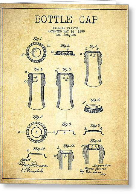 Bottle Cap Greeting Cards - Bottle Cap Patent Drawing from 1899 - Vintage Greeting Card by Aged Pixel
