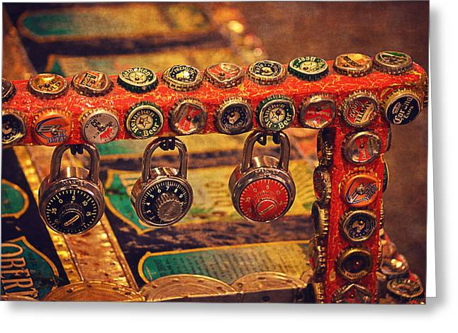 The Houses Greeting Cards - Bottle Caps Art Greeting Card by Maria Angelica Maira