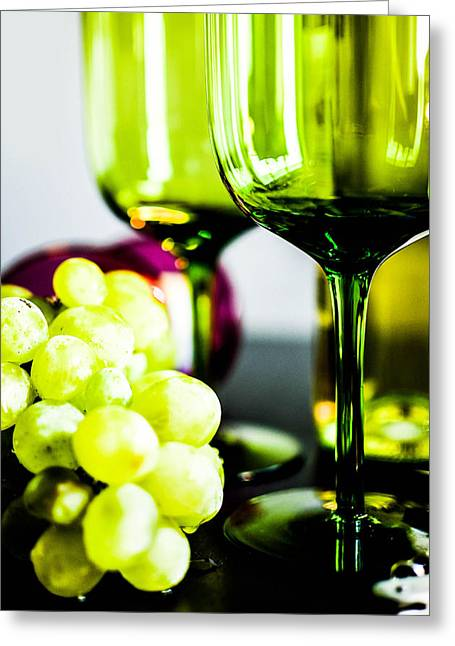 Viticulture Mixed Media Greeting Cards - Bottle glass and grapes in delightful mix Greeting Card by Toppart Sweden