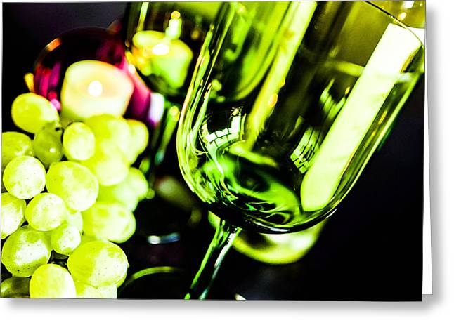 Viticulture Mixed Media Greeting Cards - Bottle glass and grapes Greeting Card by Toppart Sweden