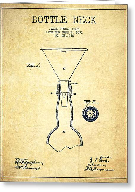 Bottle Neck Patent From 1891 - Vintage Greeting Card by Aged Pixel