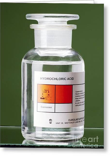 Harmful Greeting Cards - Bottle Of Hydrochloric Acid Greeting Card by Martyn F. Chillmaid