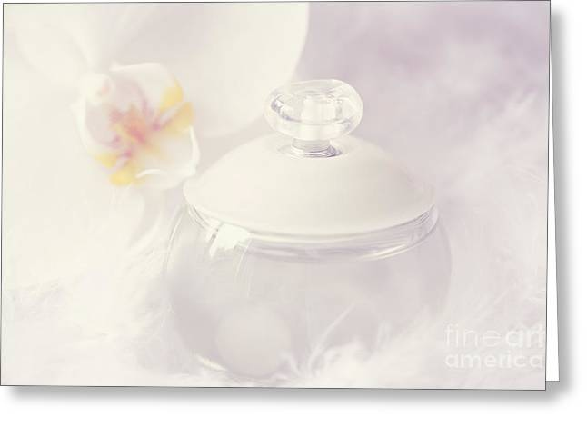 Bottle Of Perfume Greeting Cards - Bottle of perfume Greeting Card by HJBH Photography