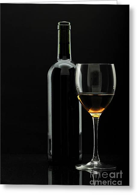 Degustation Greeting Cards - Bottle Of Wine And Wineglass Over Black Greeting Card by Josep Maria Penalver