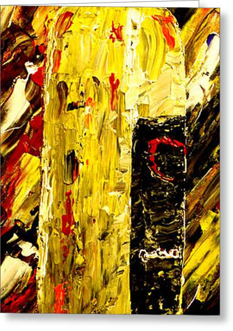 Wine Pouring Paintings Greeting Cards - Bottle Of Wine  Greeting Card by Mark Moore