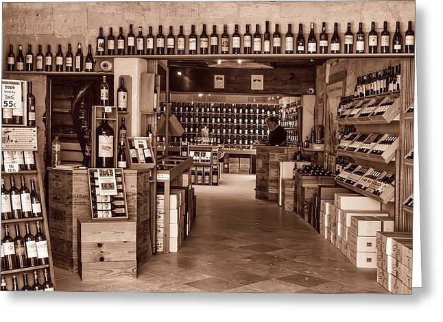 Cellar Greeting Cards - Bottle Shop Toned Greeting Card by Nomad Art And  Design