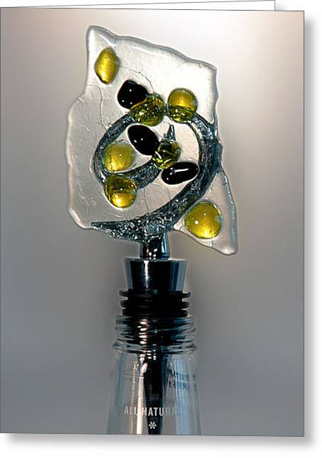Wine-bottle Glass Greeting Cards - Bottle Stopper 04 Greeting Card by Crush Creations