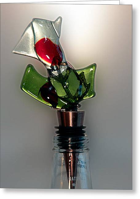 Wine-bottle Glass Greeting Cards - Bottle Stopper 09 Greeting Card by Crush Creations