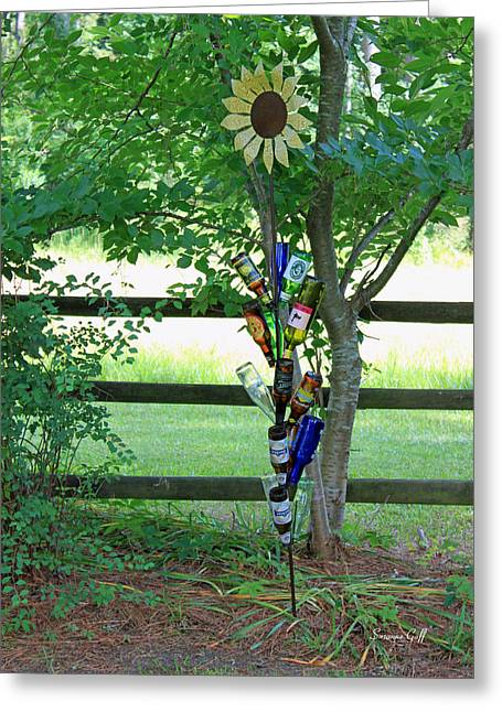 Bottle Tree Greeting Card by Suzanne Gaff