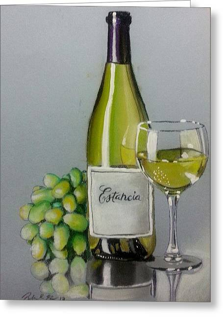 Dinner Pastels Greeting Cards - Bottle Wine and Grapes Greeting Card by Bobby Boyer