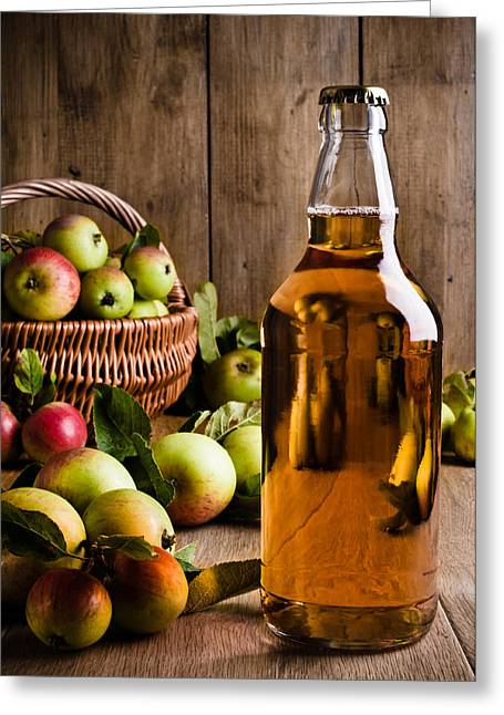Froth Greeting Cards - Bottled Cider With Apples Greeting Card by Amanda And Christopher Elwell