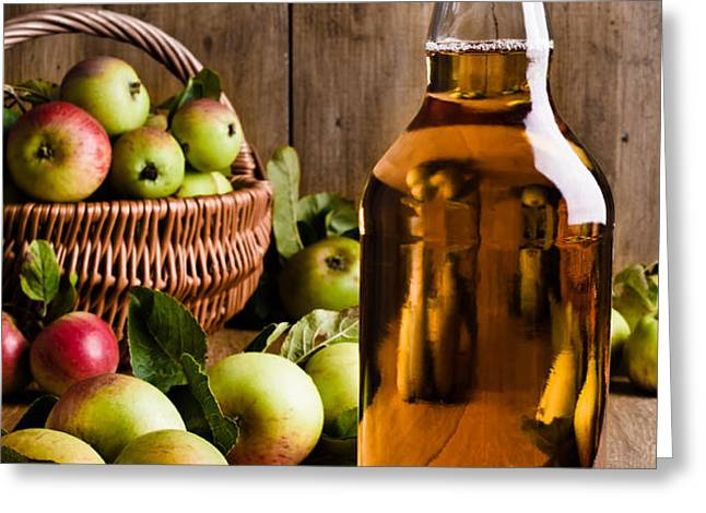 Bottled Cider With Apples Greeting Card by Amanda And Christopher Elwell