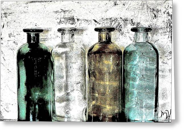 Bottles Against The Wall Greeting Card by Marsha Heiken