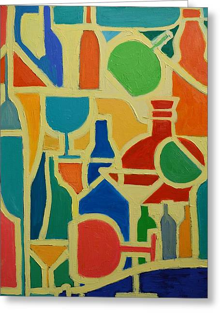 Green And Yellow Abstract Greeting Cards - Bottles And Glasses 2 Greeting Card by Ana Maria Edulescu
