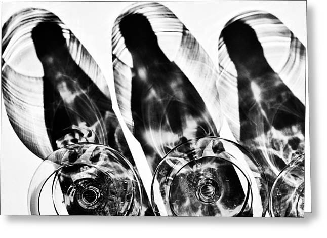 Distortion Glass Art Greeting Cards - Bottles and wine glasses and shadow Greeting Card by   larisa Fedotova