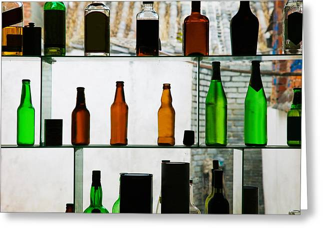 Old Photography Greeting Cards - Bottles Displayed At Foreigner Bar, Old Greeting Card by Panoramic Images