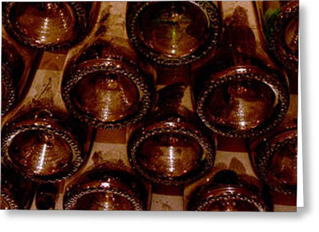 Wine Country. Greeting Cards - Bottles in the Cellar Greeting Card by Jon Neidert