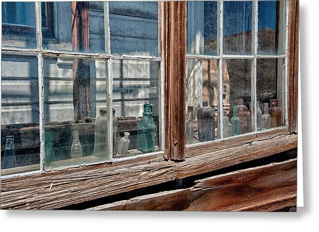Glass Bottle Photographs Greeting Cards - Bottles in the Window Greeting Card by Cat Connor