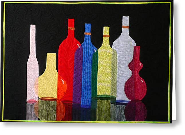 Thread Tapestries - Textiles Greeting Cards - Bottles Greeting Card by Jo Baner