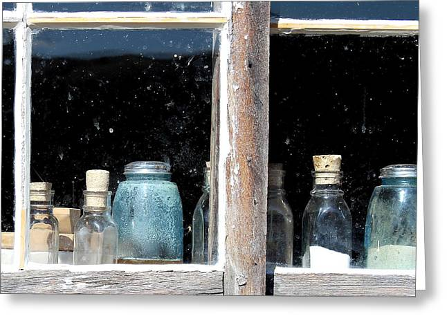 False Front Buildings Greeting Cards - Bottles Greeting Card by Mark Eisenbeil