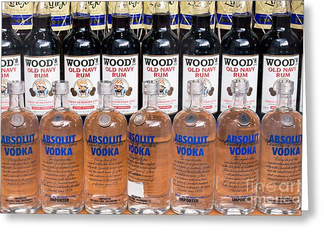Absolut Greeting Cards - Bottles of alcohol Greeting Card by Jan Mika