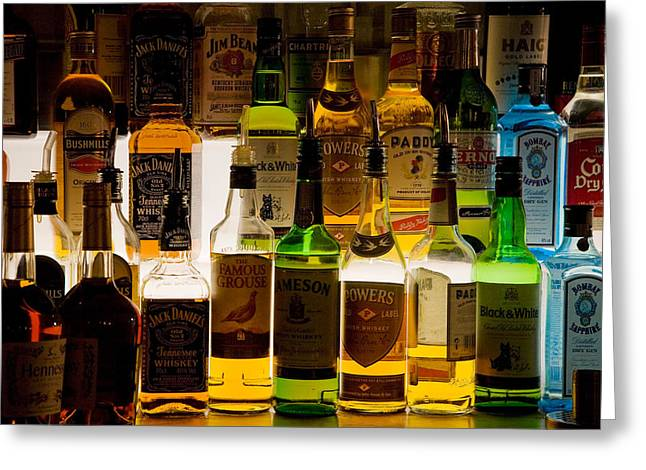 Photography Of Liquor Greeting Cards - Bottles Of Liquor, De Luans Bar Greeting Card by Panoramic Images
