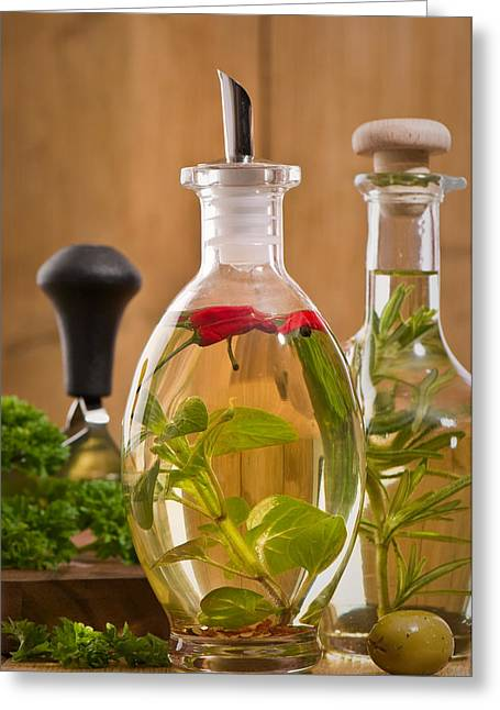 Chilli Greeting Cards - Bottles Of Olive Oil Greeting Card by Amanda And Christopher Elwell