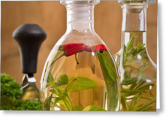 Bottles Of Olive Oil Greeting Card by Amanda And Christopher Elwell