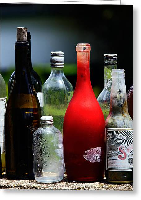 Red Wine Prints Greeting Cards - Bottles - Several old bottles lined up on a wall Greeting Card by Nature  Photographer