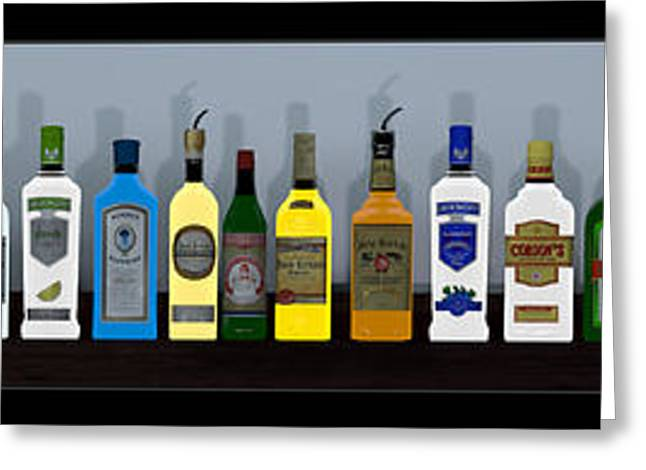 Rum Mixed Media Greeting Cards - Bottles... Greeting Card by Tim Fillingim