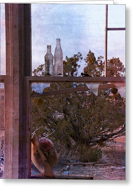 Abandoned Houses Greeting Cards - Bottles with broken glass Greeting Card by Carolyn Dalessandro