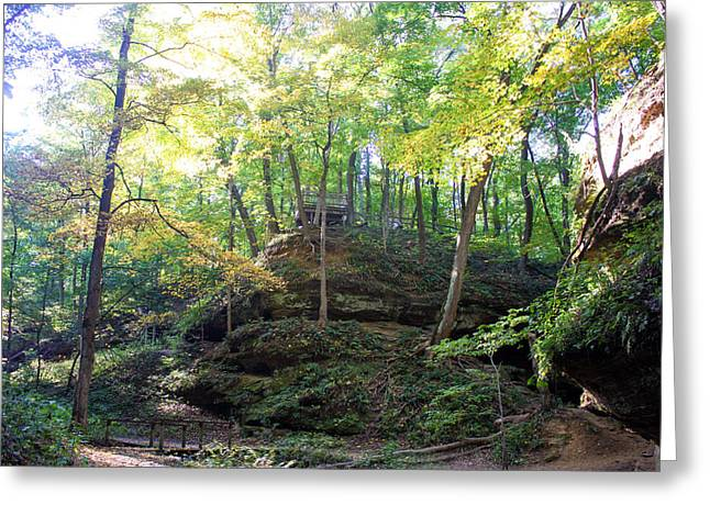 Devils Den Greeting Cards - Bottom of Devils Punchbowl Wildcat Den Greeting Card by Cynthia Woods