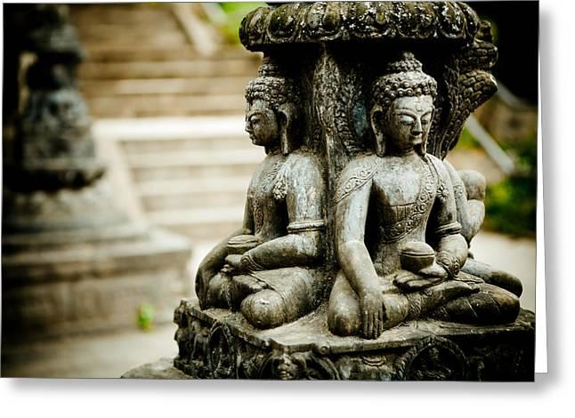 Tibetan Buddhism Greeting Cards - Boudha Swaimbutnath Greeting Card by Raimond Klavins